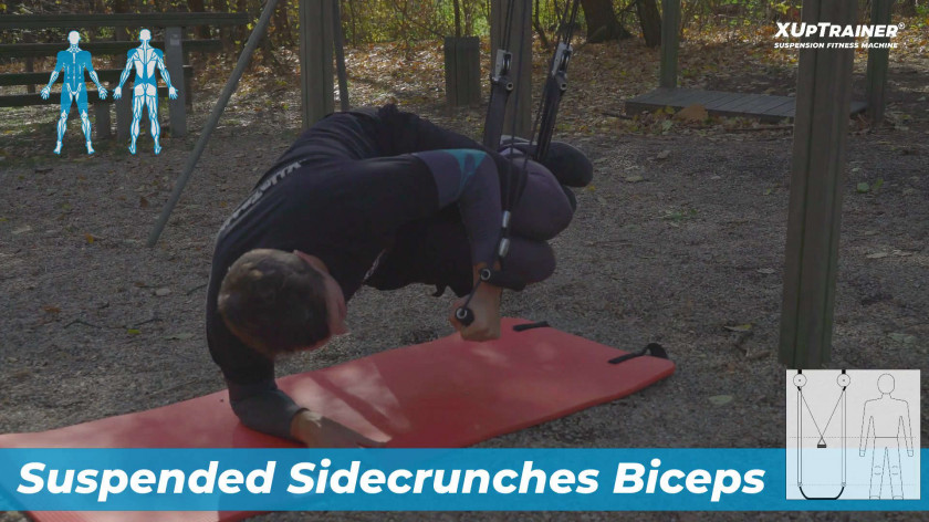 XUP Suspended Sidecrunches Biceps - strengthen total body