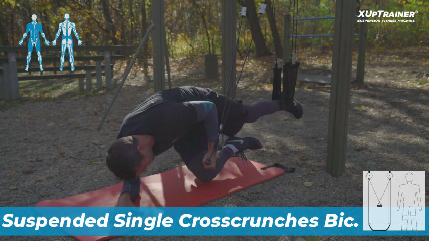 XUP Suspended Single Crosscrunches Biceps - challenging total body and core workout