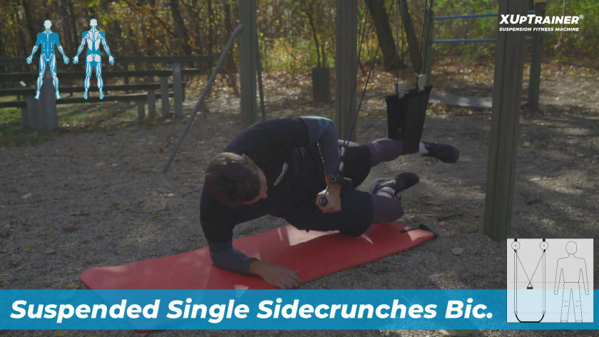XUP Suspended Single Sidecrunches Biceps - hard and effective total body exercise